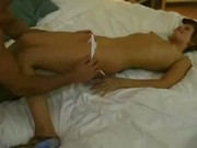 Slender girlfriend first-time anal