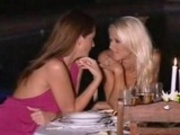Two glamourous lesbians are having 69 action after dinner