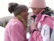 Sexy lesbian teen having fun outdoor in winter