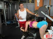 Teen babe and MILF threesome with nasty guy in the gym
