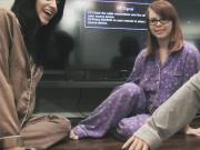 Playful teen chicks starts lesbian sex at the home pajama party