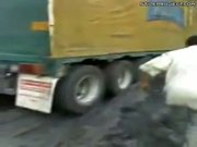 Beer truck falls off cliff, all the beer falls out