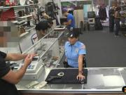 Huge boobs security officer gets fucked at the pawnshop