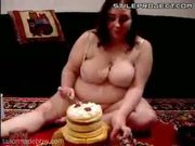 fatty plumper slut eats a whole huge cake