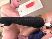 Shemale Juliana sucks and gets fucked by an enormous dick