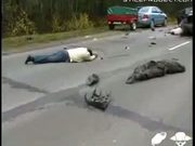 gruesome car accident in russia - broken bodies littered all over the road