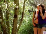 Sexy babes Natalie and Zoey lesbian action in the woods