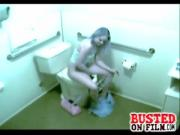 Aroused Girl Masturbates Puffy Cunt In The Comfort Room