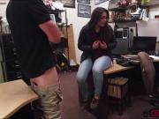 Hot threesome fuck in the pawnshop for a big cash