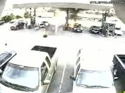 Man's Clothes Catches Fire While Pumping Gas