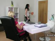 Euro cleaning lady licks female agent office lesbians