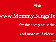 Cougar mommy and teen jizzed on