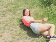 Brunette amateur fucked for cash outdoors