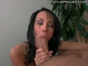 Hot brunette Alektra blue takes a big dick and facial