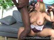 Perv makes big boobed cougar bend to pump her mouth and cunt at once