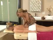 Tattooed asian masseuse rubs