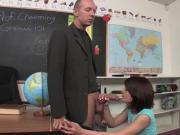 Teen babe Dahlia Denyle pussy fucked in the classroom