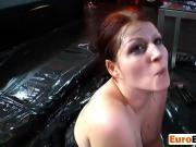 This redhead girl sucks cocks in bukkake party