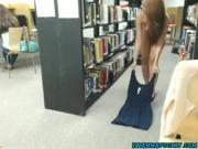 College cam babe fingers pussy in library