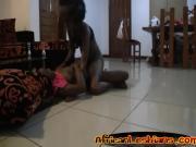 Ebony sluts pleasure each other with the same dildo