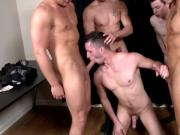 Four muscled hunks let guy suck them all
