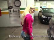 Busty blonde amateur banged in car repair shop