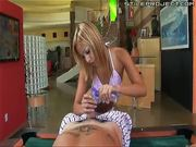 Tiny little braces teen Kat gives a gooey handjob