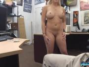 BIg tittied blonde strips in front of the camera for some cash she needed