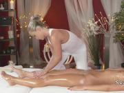 Fit blone lesbians have oral sex in massage room