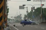 motorcycle hit by car, flips 900 degrees in the air!