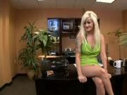 Tattooed blonde slut fucked on the desk