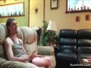 Sofa sex quickie at her parents place