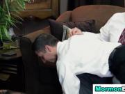 Spanked mormon elder cums