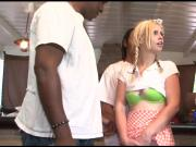 Hot blonde teen Tara Lynn Foxx banged by big black dicks