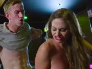 Blonde Cathy is fucked by a dicked indistinct vision on a bar