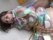 Girl Bound in Rope and Curtain Gets Cumshot After Being Fucked from Behind