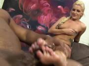 Honey gets feet cumshot