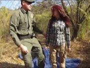 Redhead babe gets her twat fucked by border patrol agent