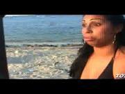 Sexy big-booty Dominican babe Marlen sucks black cock on the beach