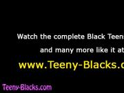 Black teen babe gets tits cummed on