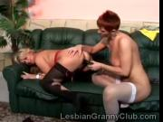 Redhead granny in hot stockings gets fucked by big boobed old lezzie