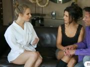 Two masseuses give nuru massage and enjoyed threesome action