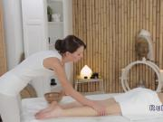 European lesbian massage session with orgasm