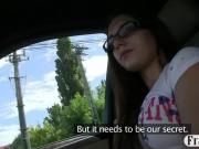 Pretty brunette amateur in glasses banged by the driver