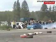 drift crash takes out spectators