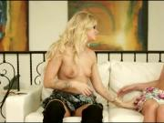 Blonde hottie Kenna eats young Jessa Rhodes pink pussy