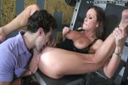 Hot milf rides cock and swallows in gym