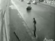 luckiest man alive - close call on the sidewalk, car almost hits him