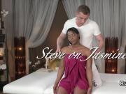 Beautiful ebony on interracial massage