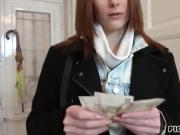Russian redhead girl Alice Marshall pounded for money